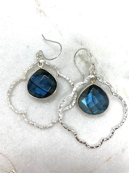 Blue Labradorite Quatrefoil Earrings