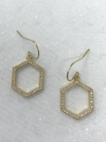 Little Pave' Hexigon Earrings