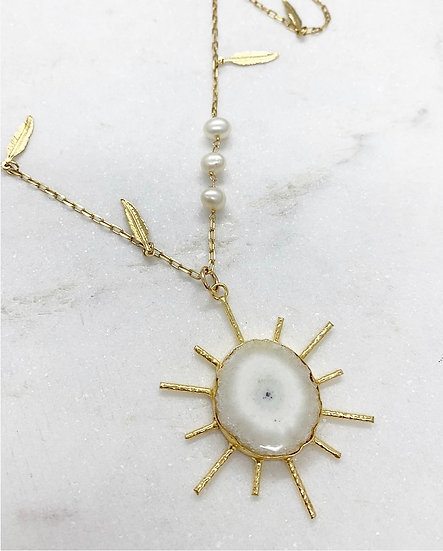 Solar Quartz Sunburst Necklace