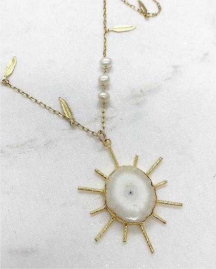 Solar Quartz Sunburst Necklace