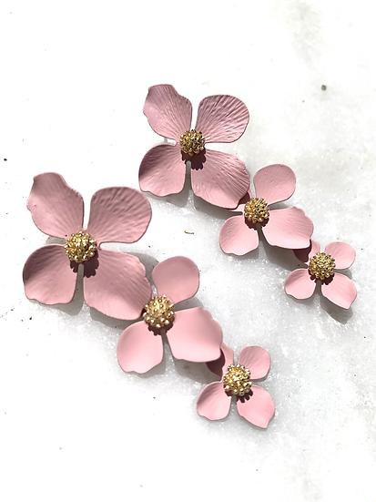 Pink stacked flower earrings