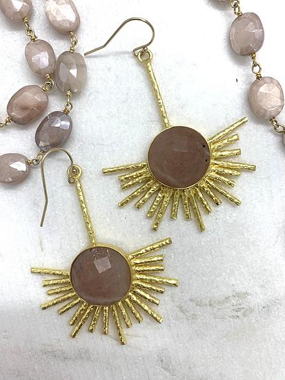 Pink Moonstone Sunburst Earrings