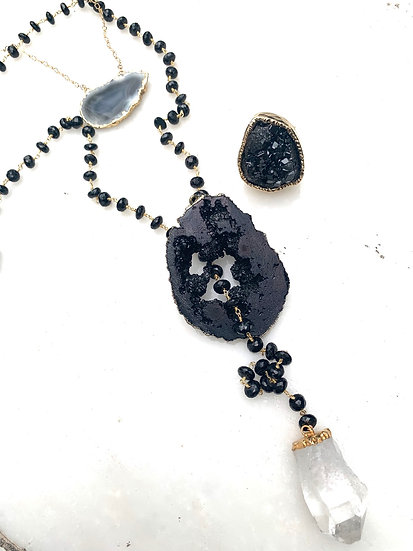 Geode Agate Lariat Necklace