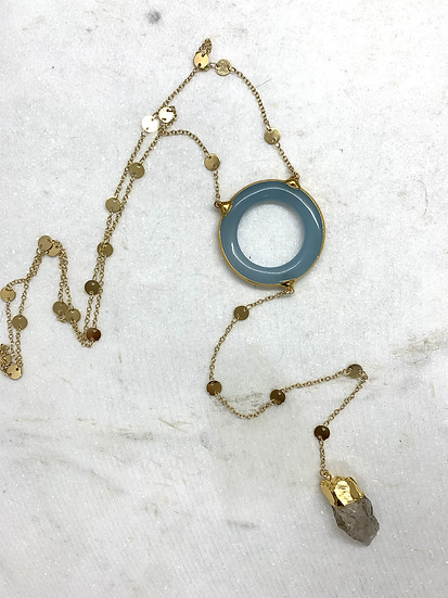 Chalcedony Ring Y Necklace