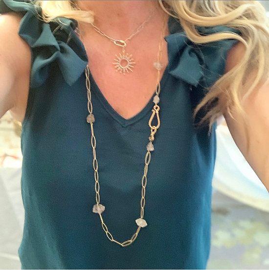 Herkimer Diamond and  Large Link Gold Wrap Necklace and Bracelet