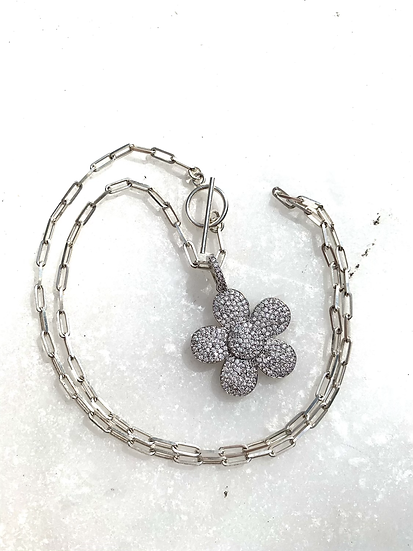 Sterling Paperclip Chain Necklace with Pave' flower