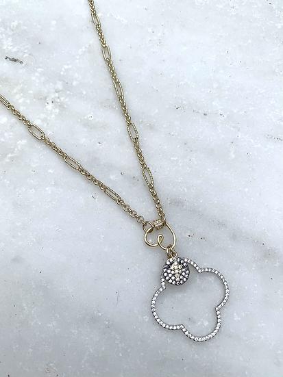 Quatrefoil Pave' and Paperclip Chain Necklace
