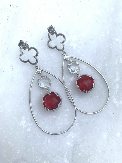 Red Siam and clear quartz Hoops