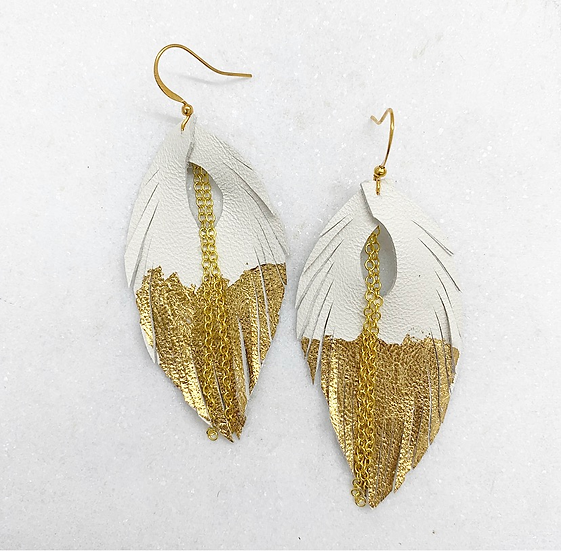 White Gold Leaf Leather Earrings