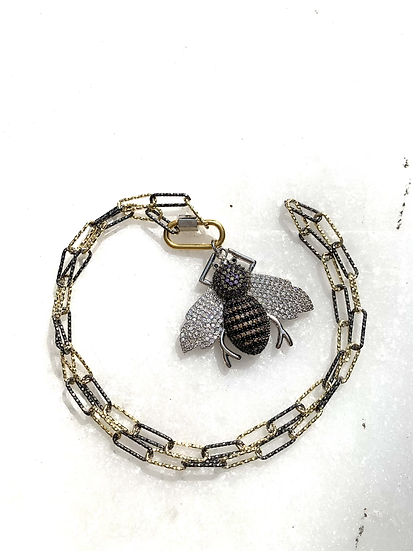 Pave' Bee and Paperclip Chain Necklace