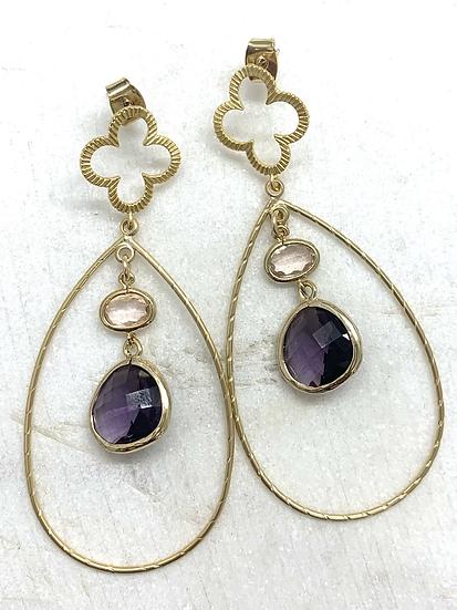 Lavender Crystal Gold Hoops