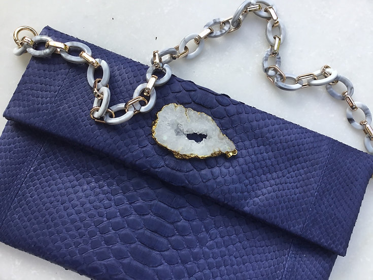 Blue Snake with Geode and Strap