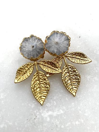 Gold Solar Quartz Leaf Stud Earrings