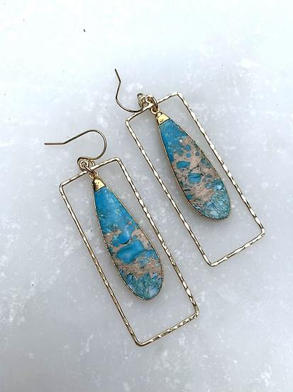 Turquoise Agate  Hoop Earrings