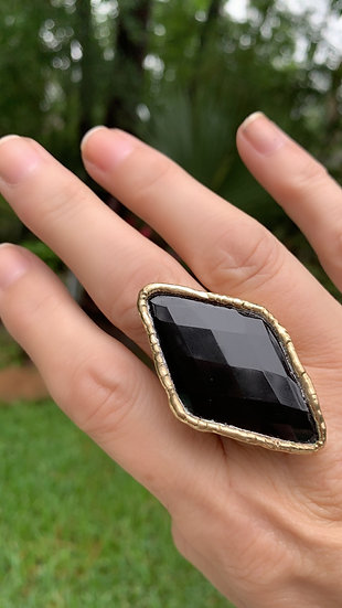 Large Diamond Shaped Black Onyx Ring in Gold