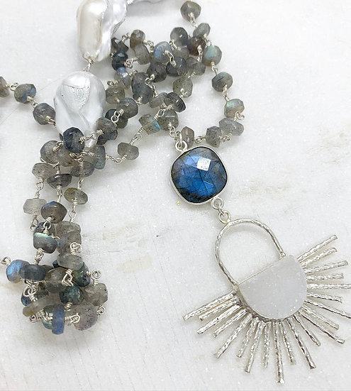 Sterling White Druzy Sunburst Necklace