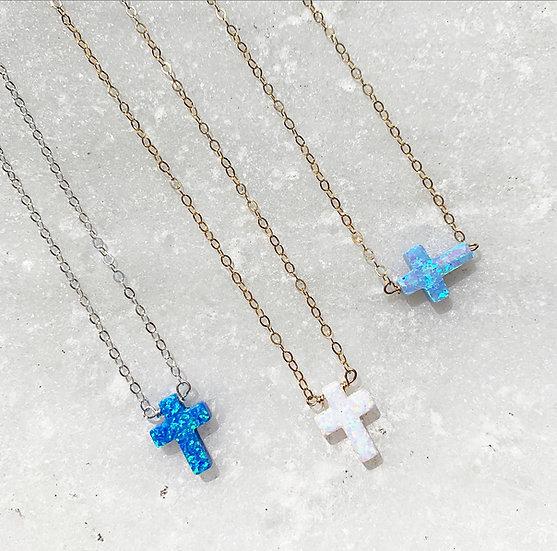 Cross Opal Necklace