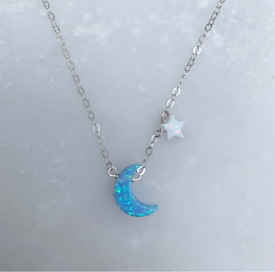 Star and Moon Opal Necklace