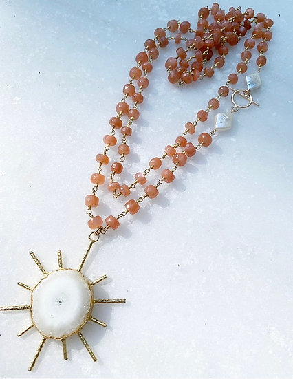 Coral Moonstone Sunburst Necklace