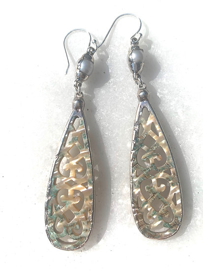 Sterling Shells and Pearl Earrings