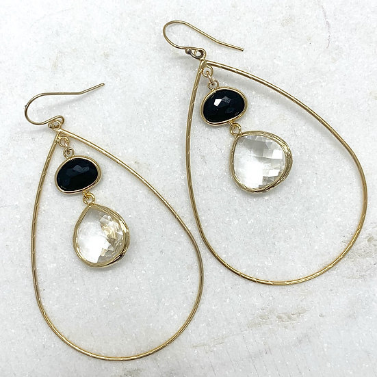 Black Crystal Gold Hoops
