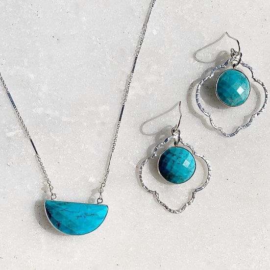 Turquoise in Silver Necklace or Earrings