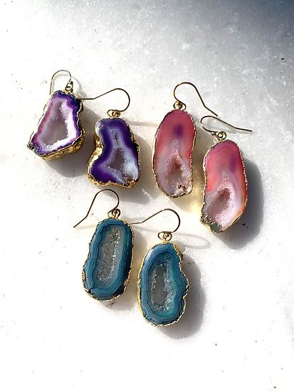 Colorful Agate Druy Earrings