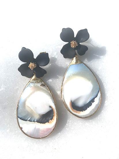 GoldOyster Shell Teardrop Earrings