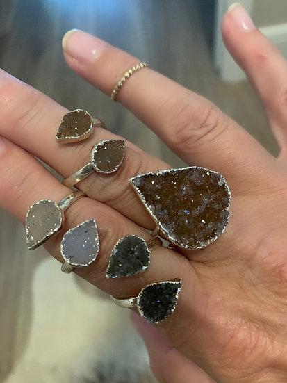 Silver Druzy Rings