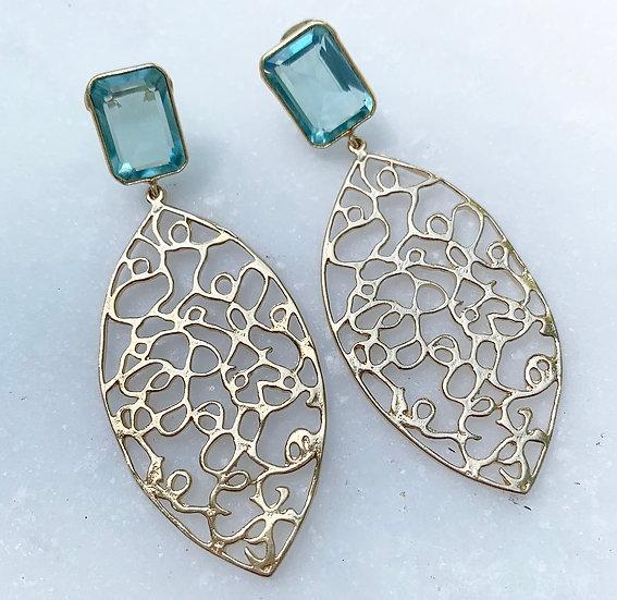 Aquamarine Filigree Earrings