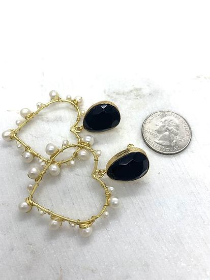 Black Onyx and Heart Pearl Earrings