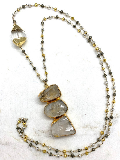 Pyrite and Quartz Crystal Necklace