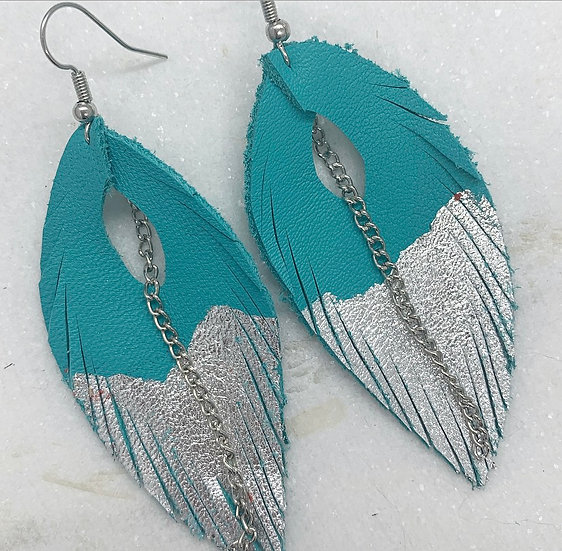 Turquoise and Silver Leather Feather Earrings