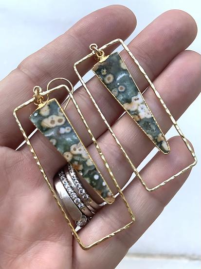 Moss Agate  Hoop Earrings