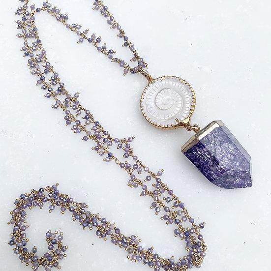 Purple Cracked Quartz Necklace