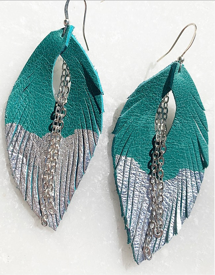 Green Blue and Silver Leaf Leather Earrings