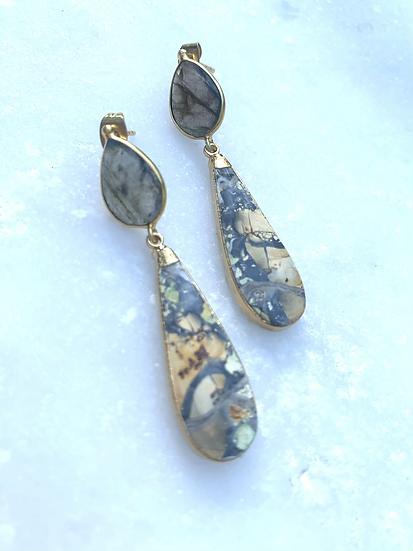 Gray Agate Earrings