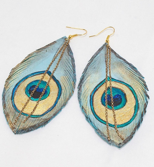 Blue Peacock Leather Feather Earrings