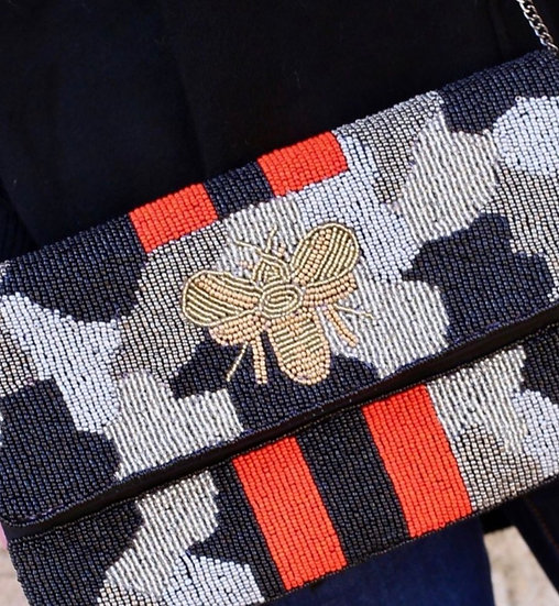 Camo Bee Beaded Clutch Bags