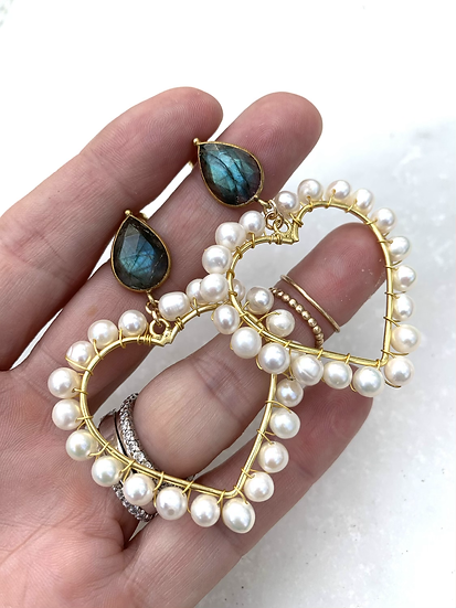 Valentine Pearl and Labradorite Earrings