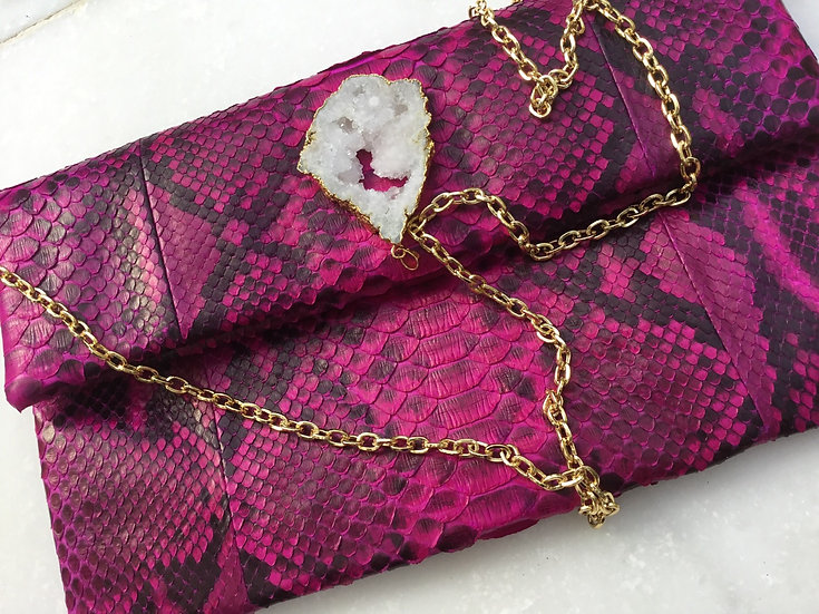 Pretty in Pink Bag with geode and strap