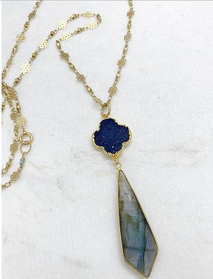 Blue Druzy and Labradorite