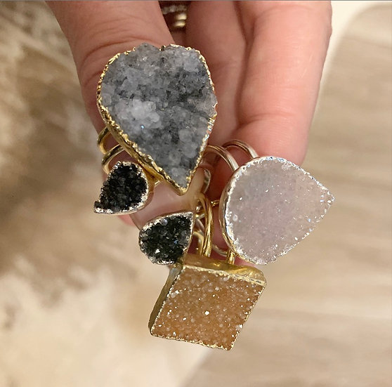 Silver and Gold Druzy Rings