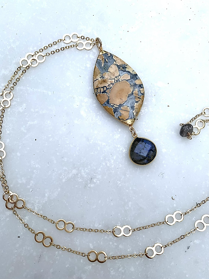 Amazing Yellow and Gray agate Necklace