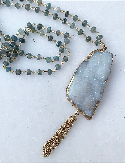Moss Agate and Druzy Necklace