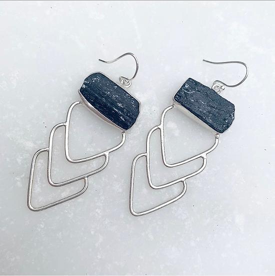 Chevron Black Tourmaline Earrings