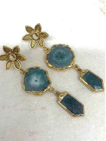 Aqua and green Solar Quartz Earrings