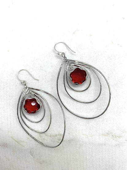Siam Red Silver Spinner Earrings