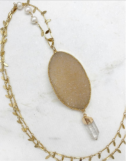 Gold Druzy and Crystal Necklace