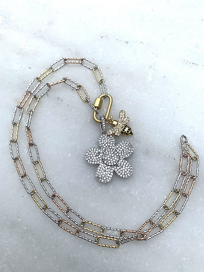 Pave' Flower and Bee and Paperclip Chain Necklace